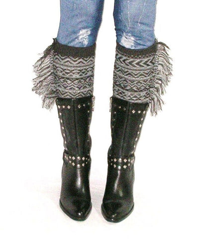 Gray Aztec Boot Cuffs