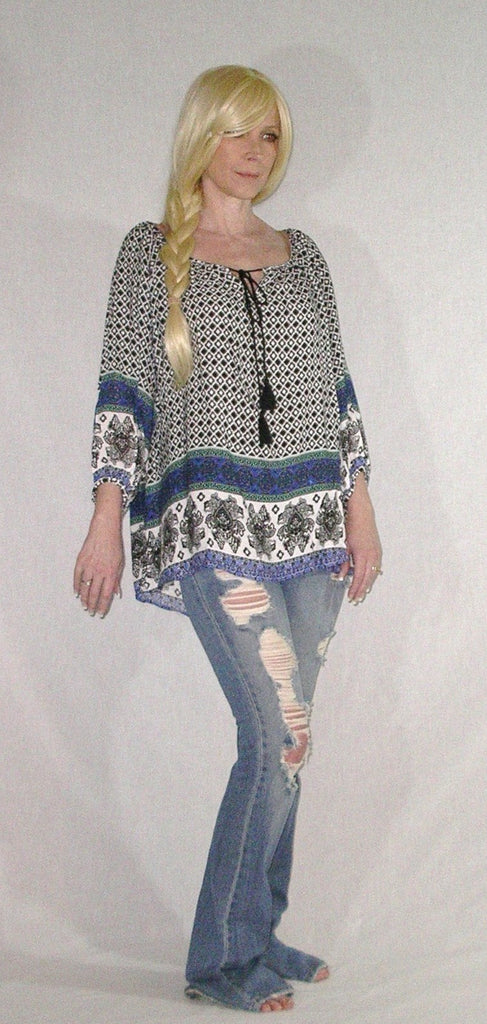 e7f53b97411 ... SALE 50% OFF Papermoon Peasant Top Blouse Blue Print Tassel Ties Boho  Tunic Shirt With ...
