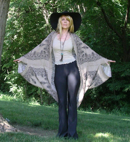 Boho Kimono Black Beige Mandala Print Fringe Edges Natural Viscose Henna Tattoo Pattern Buddhist Hindu XS Small Medium Large Extra Large XL