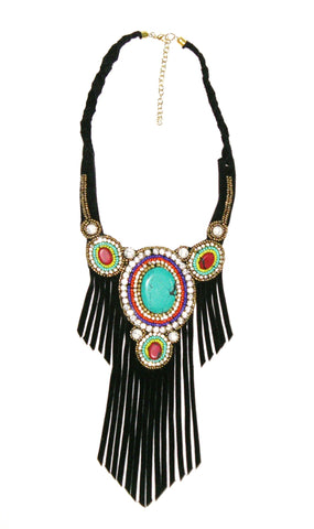 1ba0a1ceec5 Black Leather Fringe Necklace Turquoise Coral Indian Seed Beads Vegan Suede  Boho Statement Bib Tribal Hippie
