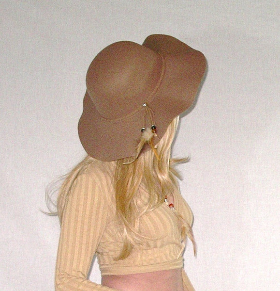 Tan Floppy Hat With Feathers Beads Braided Boho Hatband Wide Brim Felt Hippie Style Festival Hat Brown Khaki Beige Sun Hat