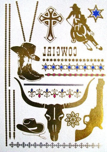 Cowgirl Metallic Temporary Tattoos Gold Longhorn Cattle Roping Cowboy Boots Cowboy Hat Six Shooter Stars Fleur De Lis Stars Cross