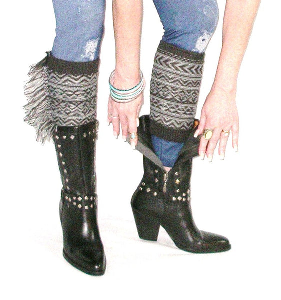 Aztec Boho Boot Cuffs With Fringe Gray And Charcoal Southwestern Cowgirl Leg Warmers