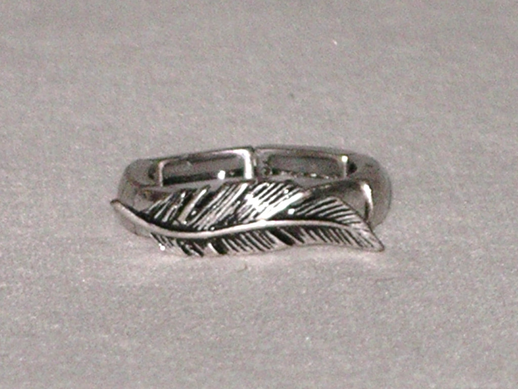Silver Feather Stretch Ring Boho Accessory Fits Any Finger Tribal Burnished Silver Tone Ladies Southwestern Indian Jewelry