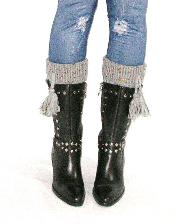 Boot Cuffs With Tassels Confetti Gray Boho Cuffed Cable Knit Multi Color Speckles One Size