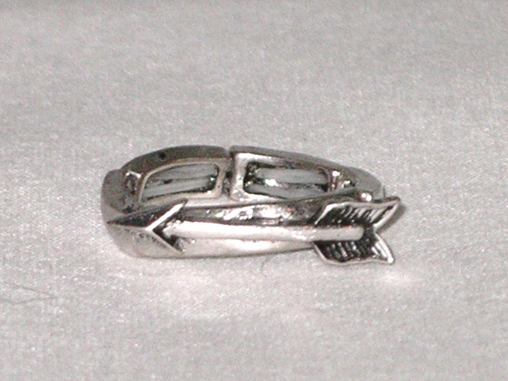 Silver Arrow Stretch Ring Boho Accessory Fits Any Finger Tribal Burnished Silver Tone Ladies Southwestern Indian Jewelry