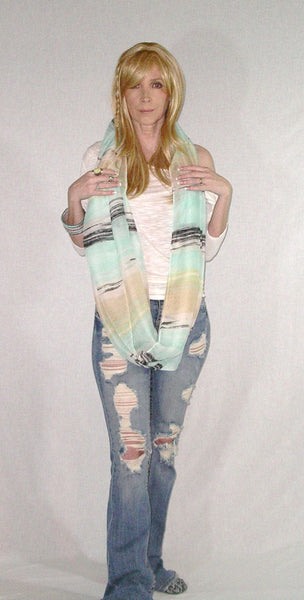 Lightweight Infinity Scarf Boho Painted Desert Mint Summer Spring Fall Scarves Mexican Serape Green Yellow Black Double Loop Eternity