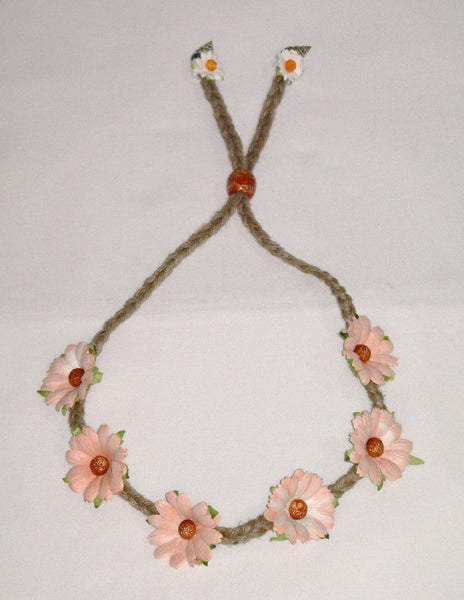 Peach Daisies Flower Crown Hemp Rope Handmade Adjustable Hair Wreath Bohemian Floral Headband