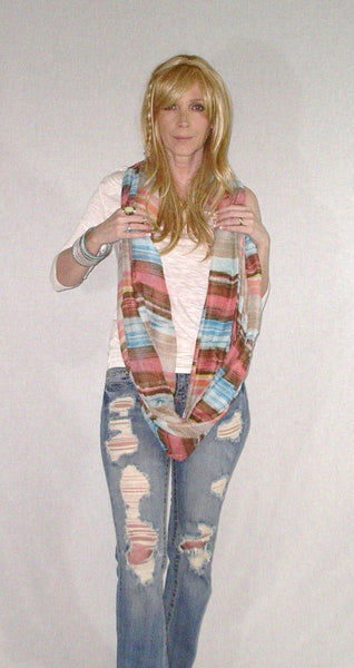Infinity Scarf Boho Painted Desert Rose Lightweight Summer Spring Fall Scarves Mexican Serape Pink Blue Brown Double Loop Eternity