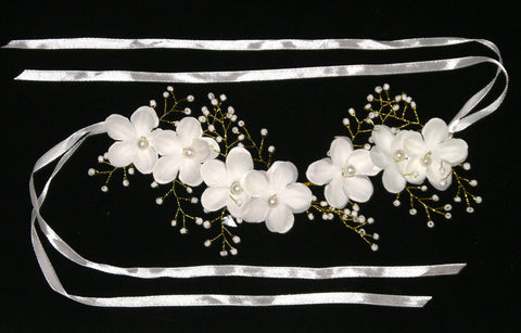 White & Gold Flower Crown Pearl Beaded Wedding Head Wreath With Satin Ribbon Ties Great For Festivals Too