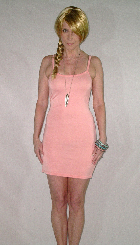 Light Pink Cami Dress Boho Slip Stretch Modal Cotton Bodycon Small Medium Large One Size Nightgown Or Nightclub Spaghetti Strap Camisole