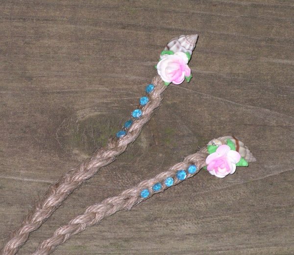 Pink Flower Crown Boho Light Pink White Blush Romantic Bohemian Floral Headband Adjustable Braided Natural Hemp Pretty In Back Too Seashell Ends