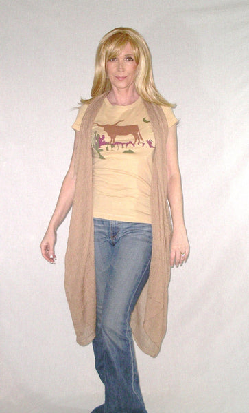"Gauze Turban Scarf Khaki Tan Wear As Vest Hijab Sash Sarong Or Swimsuit Cover Huge 64"" x 40"" Boho Hippie Gypsy Scarf"