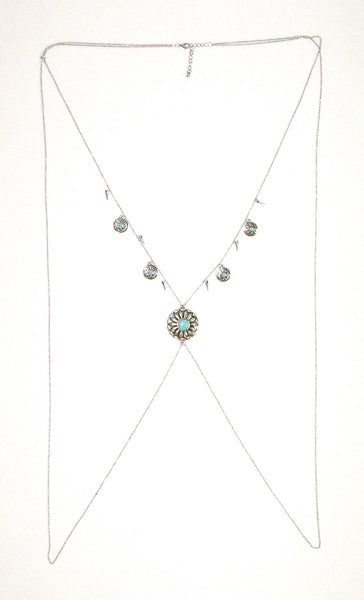 Concho Body Chain With Turquoise Silver Boho Western Body Jewelry Criss Cross X Vest Southwestern Necklace