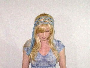 Braided Dreadlock Wrap Light Blue Handmade Crochet Hippie Headband Hair Band Groovy