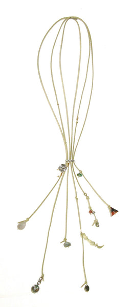 Tan Leather Lariat Necklace Suede Fringe Tassel With Natural Stones Boho Charms Western Cowgirl By Free People