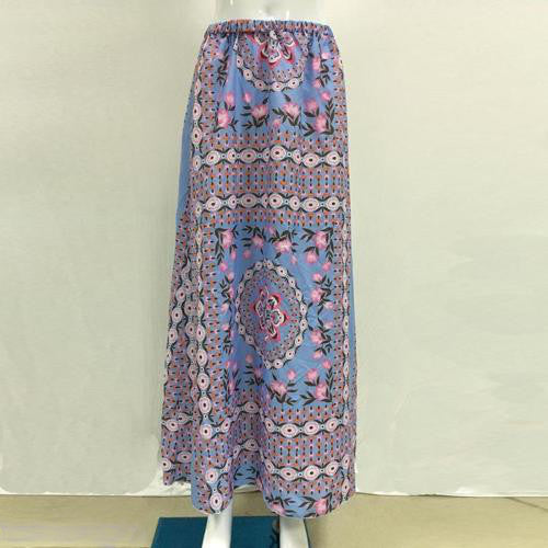"Boho Maxi Skirt ""Pandora"" Aquarium Blue With Pink Flowers Long Hippie Gypsy Festival Skirt One Size"