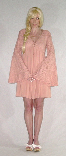 "SALE 50% OFF Blush Bell Sleeve Dress Pink Lace Top ""With Love"" Boho Mini Button Up Feminine Flare Empire Waist Hippie Dress Sizes Small Medium Or Large Available"