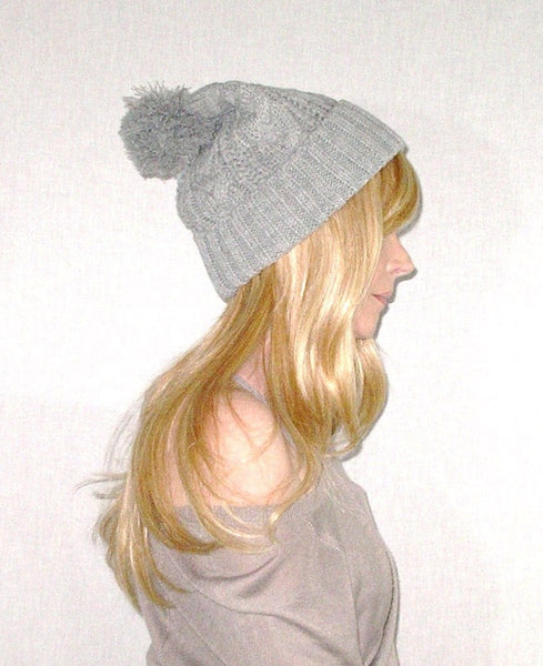 Cable Knit Beanie With Oversize Pom Pom Gray Cuffed Boho Slouch Hat Winter Stocking Cap