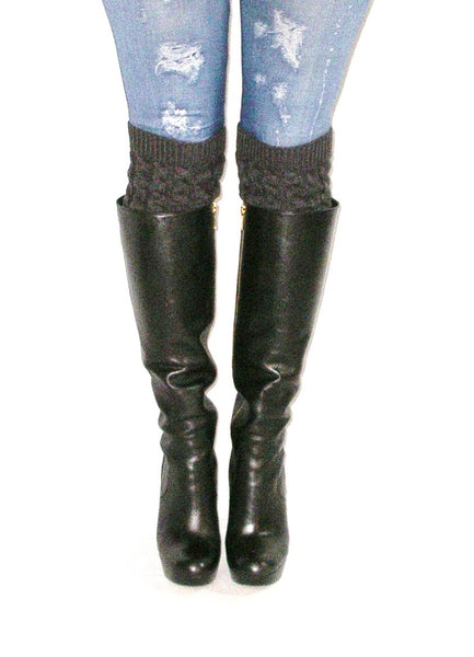 Charcoal & Heather Gray Boot Cuffs