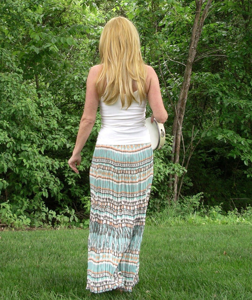Long Hippie Skirt Aztec Print Boho Southwestern Print Maxi Broom Skirt Size Small Or Extra Small Turquoise Blue Brown Orange And White