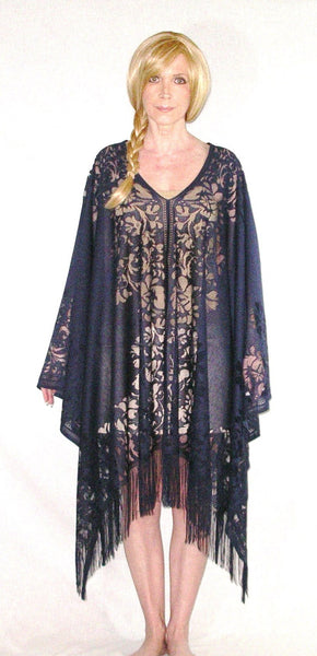 SALE 50% OFF Kimono Top Navy Lace Lightweight Fringed Poncho Flowing Bohemian Hippie Gypsy Tunic Fits XS Small Medium Large XL Plus Size