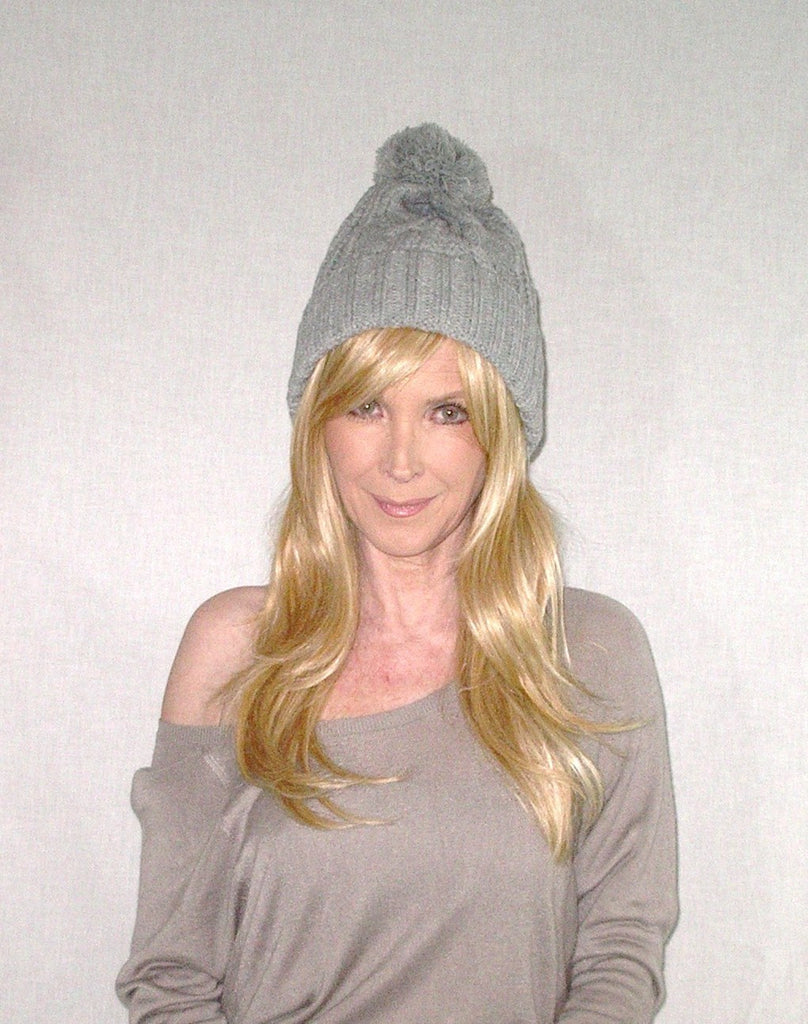Cable Knit Beanie With Oversize Pom Pom Gray Cuffed Boho Slouch Hat Wi –  Made4Walkin 51bee6f928b