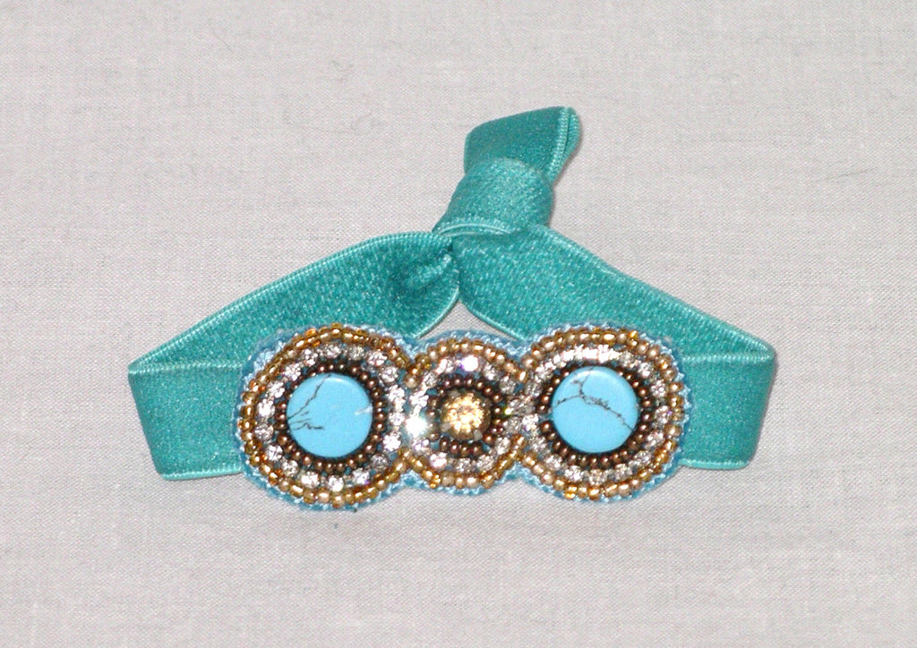 Beaded Hair Tie Boho Turquoise Gold Seed Beads Tiny Crystals Ponytail Holder Golden Crystal Center Stone Bohemian Elastic Hairband