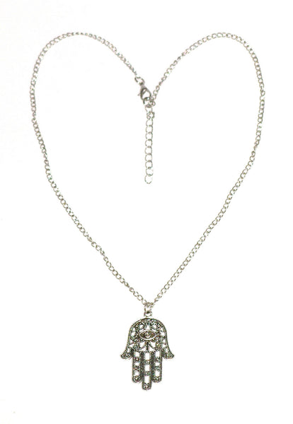 Hamsa Necklace Silver Tone Protection From The Evil Eye Hamesh Amulet Hand Of Mary Good Luck Buddha Mudra Yoga Meditation