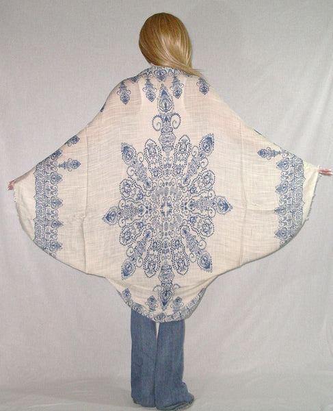 Boho Kimono Navy Blue And White Cocoon With Henna Like Floral Pattern Fringed Edges Natural Viscose Mandala Tattoo Buddhist Hindu One Size Fits All