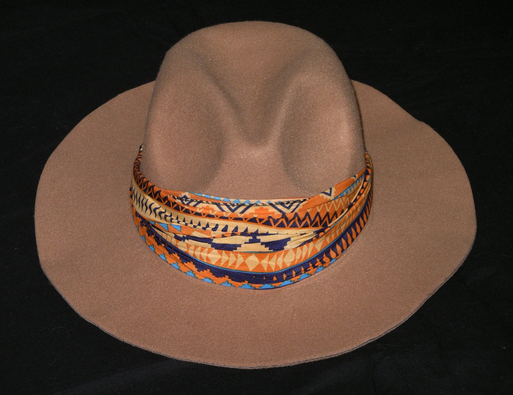 Aztec Tan Fedora Wide Brim Boho Gypsy Hat And Indian Headband All In One Beige Felt Festival Hat