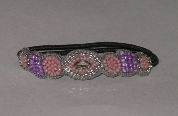 Beaded Boho Hair Tie By Deepa Gurnani Pink And Purple Seed Beads With Clear Marquise Crystal  Hair Elastic Made In India Ponytail Holder