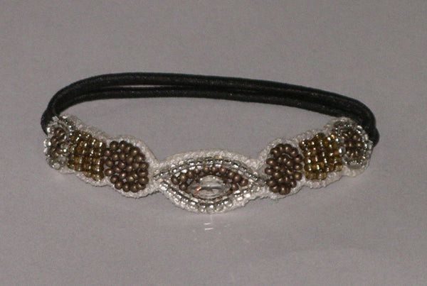 Beaded Hair Tie By Deepa Gurnani Boho Ponytail Holder Bronze Topaz And Clear Seed Beads Marquise Crystal Center Elastic Band Bohemian Hair Accessory