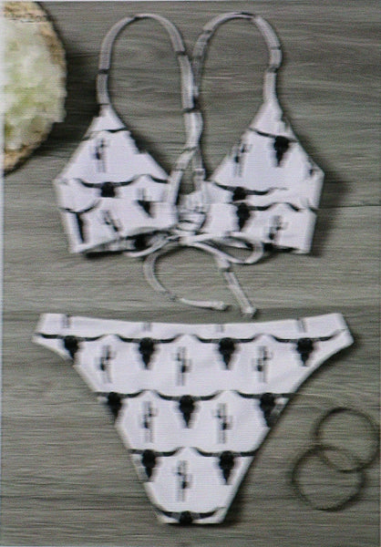 Boho Longhorn Skull Cactus Bikini White 2 Piece Swimsuit With And Black Cattle Print Padded Strappy Top Hiphugger Bottoms Small Medium Large