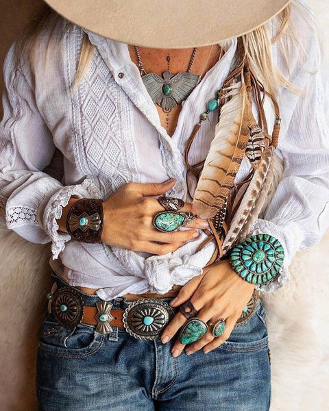 Turquoise Silver Conchos Belt