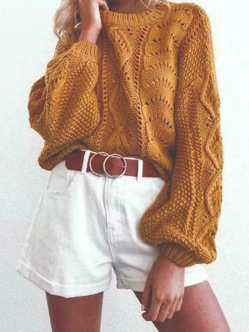 "Bohemian Sweater ""Allison"" Balloon Sleeve Golden Camel Brown Cable Knit Lantern Sleeve Jumper One Size"