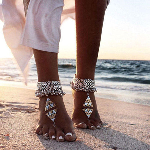 Gypsy Bells Anklets Silver Jingling Ankle Bracelets Set Of Two Bohemian Festival Jewelry Great For Belly Dancers