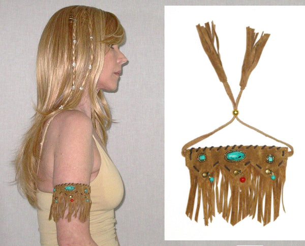 Tan Suede Upper Arm Bracelet Vegan Leather Fringe Turquoise And Coral Indian Beads Adjustable Boho Cuff Tribal Southwestern