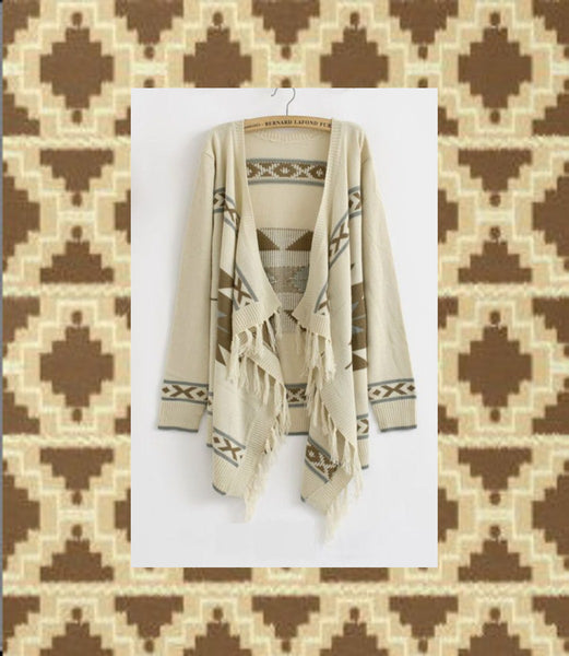 Aztec Cardigan With Fringe Beige Brown Gray Southwestern Print Warm Sweater Bohemian Kimono Wrap