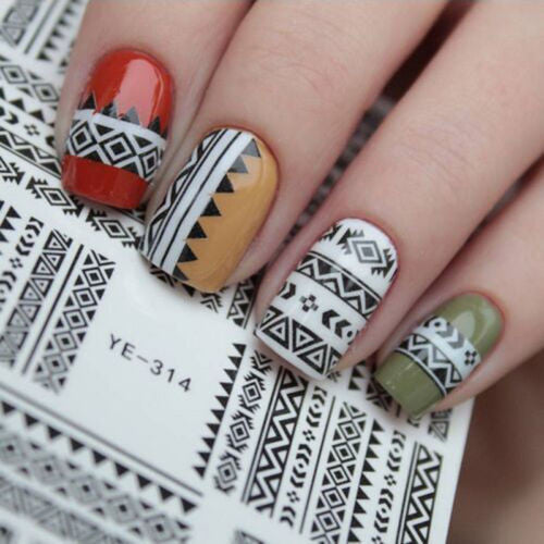 Aztec Nail Art Wraps Boho Water Decals Transfers Stickers Tribal Print Tattoos