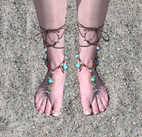 Barefoot Sandals Turquoise Coral Gold Conchos Feathers Beach Feet Jewelry Brown Braided Anklet Toe Ring