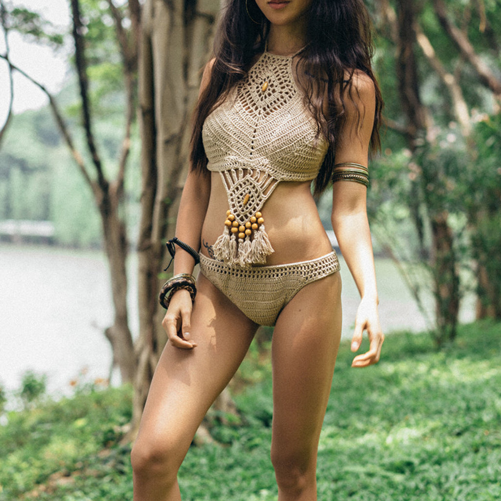 "Boho Crochet Bikini ""Twiggy"" Tan Beige Halter Top With Wooden Beads Tassels Festival Ready Size Small Medium Or Large"