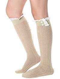 Tan Boho Boot Socks Crochet Lace Button Top Pointelle Knee High Beige Khaki One Size