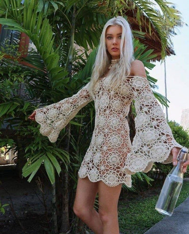 Bell Sleeve Dress Beige Crochet Mandalas Swimsuit Cover Up Or Free Festival Gypsy People Bohemian Mini One Size