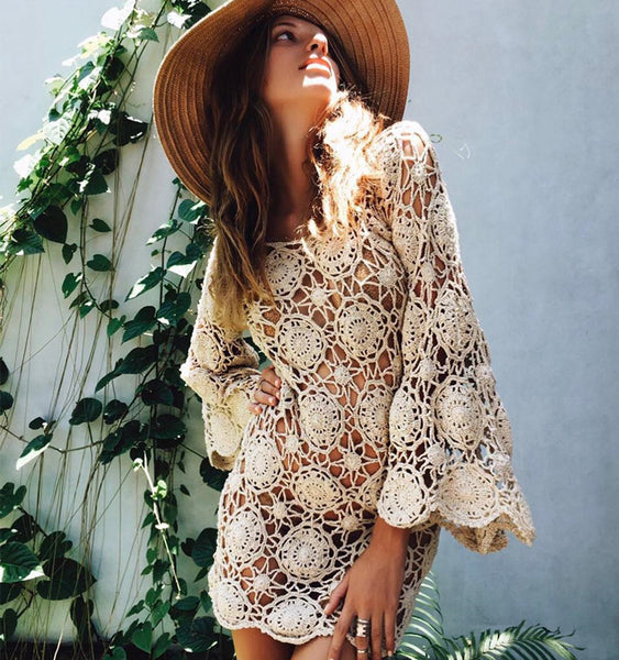 Bell Sleeve Dress Beige Crochet Swimsuit Cover Up Or Free Festival Gypsy People Bohemian Mini One Size
