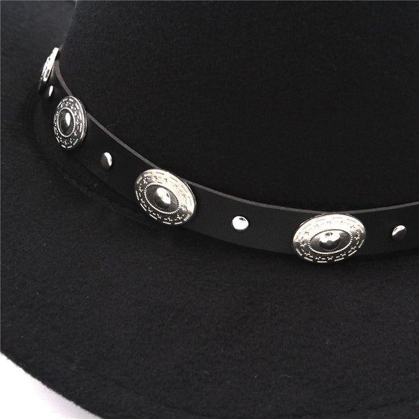 Black Cowgirl Hat Silver Conchos Felt Bohemian Festival Hat Southwester Western Hat Band Turn Heads Sun Protection