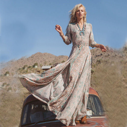 "Boho Maxi Dress Floral Chiffon ""Blossom"" Thin Breezy Turquoise Tan Summer Gown 3/4 Peasant Sleeves Small Medium Large Or Extra Large"