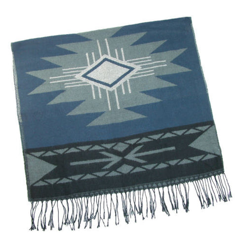 "Aztec Blanket Scarf Blue And Tan With Fringe Southwestern Print Big And Long 27"" x 70"" Boho Western Cowgirls"