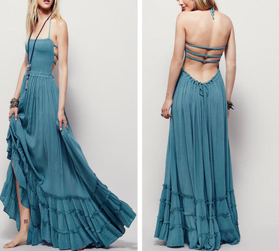 "Boho Maxi Dress Teal Blue ""Extratropical"" Halter Gown Size Large Long Strappy Backless Gauze Gypsy Dress Smocked Front Adjustable Waist Triple Tiered Hem"