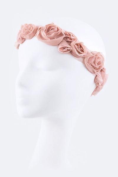 Blush Flower Crown Frayed Fabric Floral Headband Tattered Cinderella Hair Wreath Light Baby Pink Chiffon Fractured Fairytale